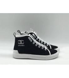 Женские кеды Chanel (Шанель) летние высокие на шнурках Black