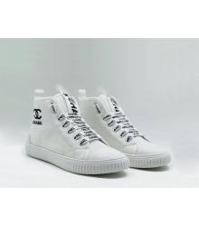 Женские кеды Chanel (Шанель) летние высокие на шнурках White