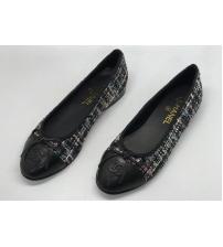Балетки женские Chanel (Шанель) материал твид Black
