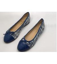 Балетки женские Chanel (Шанель) материал твид Blue
