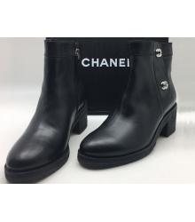 Полусапоги женские Chanel (Шанель) осенние кожаные Black