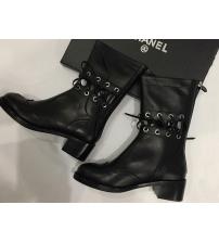 Женские полусапоги Chanel (Шанель) осенние кожаные Black