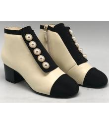 Женские ботильоны Chanel (Шанель) осенние кожаные на каблуке Beige