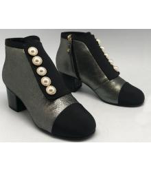 Женские ботильоны Chanel (Шанель) осенние кожаные на каблуке Silver