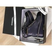 Женские ботинки Chanel (Шанель) осенние кожаные на толстой подошве Blue
