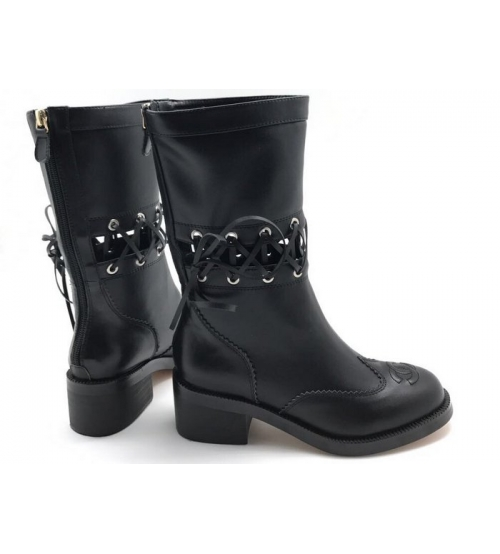 Женские полусапоги Chanel (Шанель) осенние кожаные со шнуровкой Black