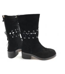 Женские полусапоги Chanel (Шанель) осенние замшевые со шнуровкой Black