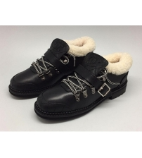 Зимние ботинки женские Chanel (Шанель) с мехом Black