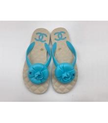 Женские шлепанцы Chanel (Шанель) сланцы летние кожаные с цветком Blue