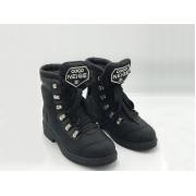 Женские ботинки Chanel (Шанель) текстиль на шнуровке на низком каблуке Black