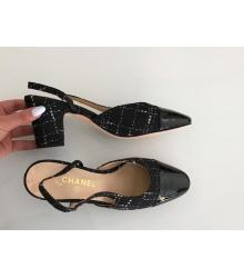 Босоножки женские Chanel (Шанель) твид каблук средней длины Black