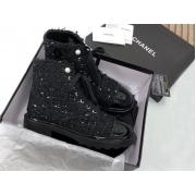Ботинки женские Chanel (Шанель) твид на шнуровке с логотипом Black