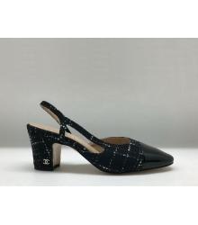 Босоножки женские Chanel (Шанель) твид на толстом каблуке Black