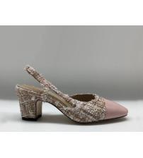 Босоножки женские Chanel (Шанель) твид на толстом каблуке Pink