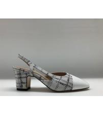 Босоножки женские Chanel (Шанель) твид на толстом каблуке White