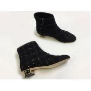 Ботильоны женские Chanel (Шанель) твид с молнией на толстом каблуке Black/Gold