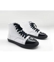 Женские кеды Chanel (Шанель) высокие кожаные на шнурках с лого White/Black