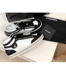 Женские кеды Chanel (Шанель) высокие кожаные на шнурках White/Black