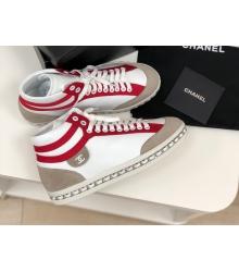Женские кеды Chanel (Шанель) высокие кожаные на шнурках White/Red