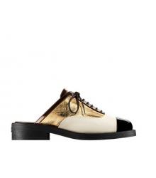 Ботинки-дерби женские Chanel (Шанель) кожаные Куба White/Gold/Black