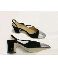 Туфли-лодочки женские Chanel (Шанель) замша кожа каблук средний Black
