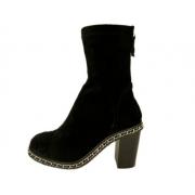 Полусапоги женские Chanel (Шанель ) замшевые Black