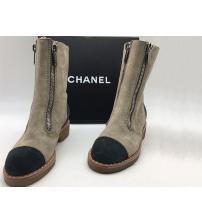Полусапоги женские Chanel (Шанель) замшевые Grey/Black