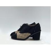 Женские туфли Chanel (Шанель) замшевые каблук средней длины Black/Beige