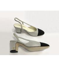 Туфли-лодочки женские Chanel (Шанель) замшевые каблук средний Silver