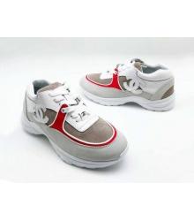 Женские кроссовки Chanel (Шанель) замшевые на шнуровке с красными вставками White