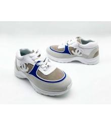Женские кроссовки Chanel (Шанель) замшевые на шнуровке с синими вставками White