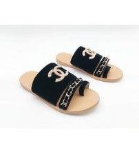 Женские сандалии Chanel (Шанель) бархат с цепочкой Black