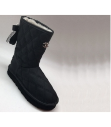 Женские сапоги угги Chanel (Шанель) зимние Black