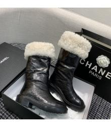 Женские сапоги Chanel (Шанель) зимние на меху кожаные Black