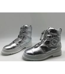 Женские ботинки дутики Chanel (Шанель) зимние с мехом Silver