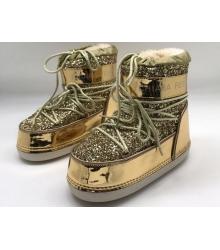Сапоги луноходы женские Chiara Ferragni (Кьяра Ферраньи) Gold