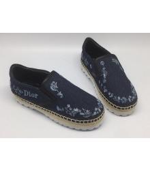 Женские слипоны Christian Dior (Кристиан Диор) Cruise из денима Blue