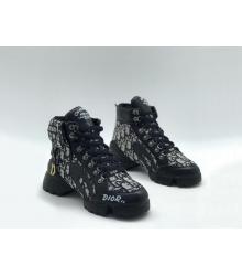 Женские кроссовки Christian Dior (Кристиан Диор) D Connect на шнурках Black