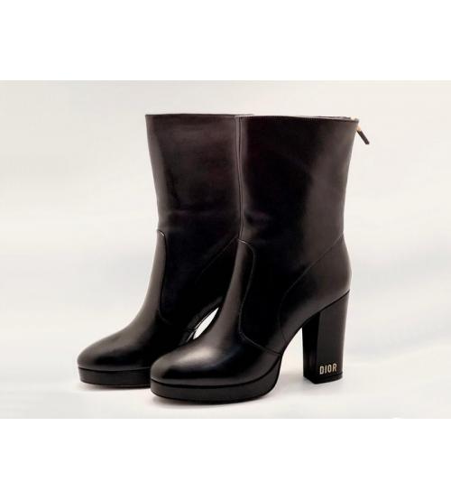 Женские ботильоны Christian Dior (Кристиан Диор) D-RISE кожаные каблук средней длины с принтом Black