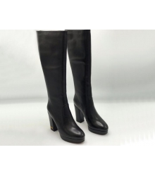 Женские сапоги Christian Dior (Кристиан Диор) D-Rise осенние кожаные Black