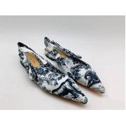 """Женские туфли Christian Dior (Кристиан Диор) """"J`Dior """" брендовые на низком каблуке с открытой пяткой Blue"""