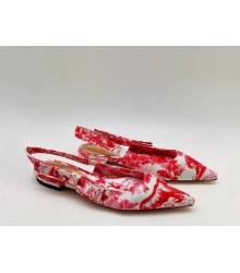 """Женские туфли Christian Dior (Кристиан Диор) """"J`Dior """" брендовые на низком каблуке с открытой пяткой Red"""