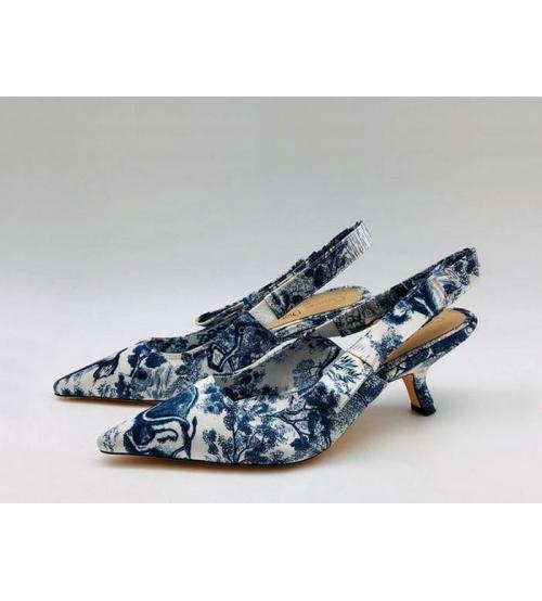 """Женские туфли Christian Dior (Кристиан Диор) """"J`Dior """" брендовые на среднем каблуке с открытой пяткой Blue"""