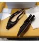 Балетки женские Christian Dior (Кристиан Диор) J`Dior с открытой пяткой каблук 0,5см c бисером Black