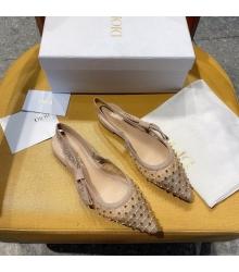 Балетки женские Christian Dior (Кристиан Диор) J`Dior с открытой пяткой каблук 0,5см c бисером Beige