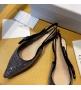 Женские балетки Christian Dior (Кристиан Диор) J`Dior с открытой пяткой каблук 0,5см со стразами Black