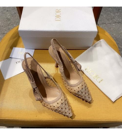 Женские туфли-слингбэки Christian Dior (Кристиан Диор) J`Dior каблук 10см c бисером с открытой пяткой Beige