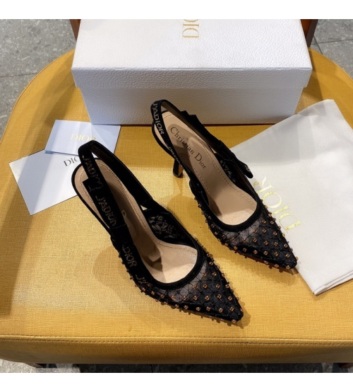 Женские туфли-слингбэки Christian Dior (Кристиан Диор)  J`Dior каблук 10см c бисером с открытой пяткой Black
