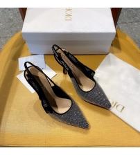 Женские туфли-слингбэки Christian Dior (Кристиан Диор)  J`Dior каблук 10см из стразов с открытой пяткой Black