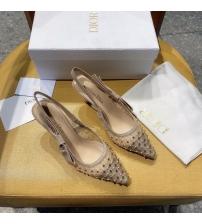 Женские туфли-слингбэки Christian Dior (Кристиан Диор)  J`Dior каблук 6,5см c бисером с открытой пяткой Beige